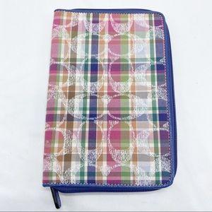Coach Blue Pink Plaid Signature Zip Tablet Case